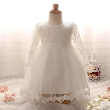 Newborn Baptism Dress For Baby Girl White First Birthday Party Wear Cute Lace Long Sleeve Christening Gown Tutu Infant Clothing
