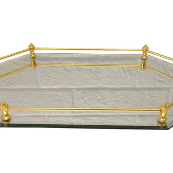 Mirrored Vanity Tray w/Brass Gallery