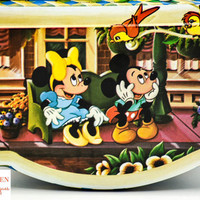 Vintage Walt Disney Productions- Mickey, Minnie, Goofy- Collectible Lithograph Candy Tin