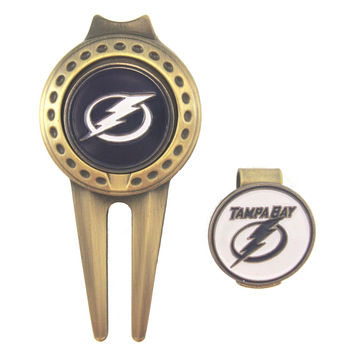 Tampa Bay Lightning Golfers Hat Clip & Divot Tool Combo with Golf Ball Markers