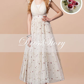 Floral Embroidered Lace Dress - Lace Maxi Dress with Faux Surplice Bodice - Beige Lace Maxi Dress - White Lace Maxi Dress - 287