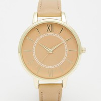 ASOS | ASOS Sleek All Skinny Strap Nude Watch at ASOS