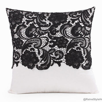 Vintage Inspired French Charm Black Lace Trimmed White Pillow Cover. 17inch Decorative Cushion Cover. New Home Gift. Classy Wedding Gift