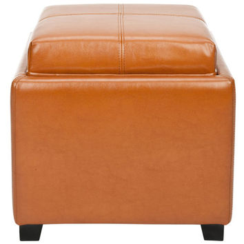Safavieh Home Furniture HUD8233C Saddle Leather Tray Ottoman