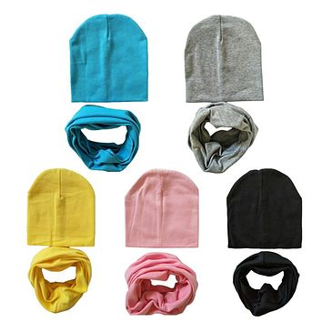 1 Set Cotton Baby Hat Scarf Solid Color Children Caps Scarves Autumn Winter Kids Boys Girls O Ring Collars Beanies
