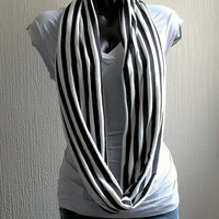 Striped Infinity scarf, in black and white jersey knit, light and cozy,EXTRA WIDE.READY To SHIp.