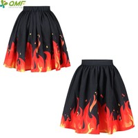 3D Flaming Fire Red Tennis Skirts Punk Female Knee-Length Pleated Skirt Saia Trend Flared Floral Faldas Midi Party Skirt Flared