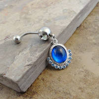 Sapphire Blue Gem Dangle Belly Button Ring Jewelry