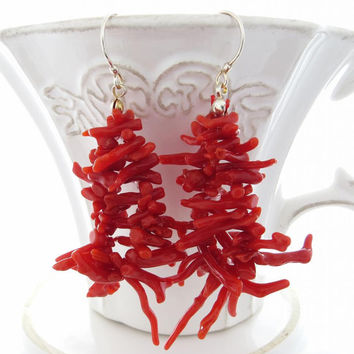 Red coral earrings from Torre del Greco sterling silver 925 jewels italian jewelry Sofia's Bijoux Made in Italy