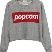 Sheinside Grey POPCORN Print Round Neck Crop Sweatshirt (One-Size, Grey)