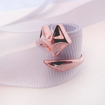 Chunky Rose Gold Fox Ring, Adjustable, Rose Gold plated