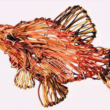 Fish brooch Metal wire art Ocan Fish jewelry Tropical jewelry Sea art sculpture womens colorful jewelry Orange jewelry Statement brooch