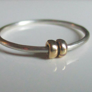 Fidget Ring, Worry Ring, Anxiety Ring, Sterling Silver with Gold Beads