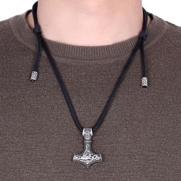 MYAROMA FINDINGS Thor Hammer Pendant Necklace Men's Adjustable Paracord Chain Necklaces Viking Jewelry + Gift Pouch bag