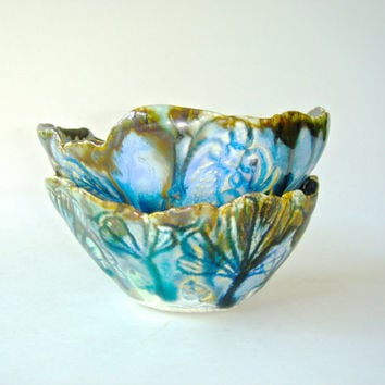 Lace Ceramic Bowl set, Organic shape with lace texture, teal, turquoise and emerald green and metallic bronze