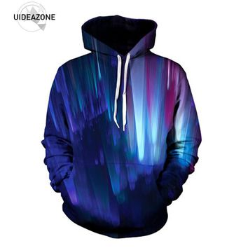 UIDEAZONE 2017 New Fashion Northern Lights Hoodie Blast Off Into Space Festival Clothes Rave Concert Hoody Plus Size 3XL