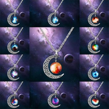 2015 Planet Galaxy Necklace Lovely Galaxy Nebula Space Cabochon With Alloy Hollow Moon Pendant  Color Chain Necklace