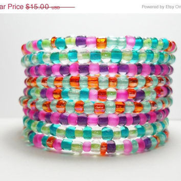 ON SALE Colorful Memory Wire Bracelet Stacked Bracelet Blue Pink Purple Orange