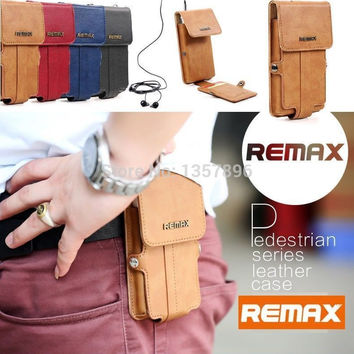 Remax Leather Case Wallet Belt Clip Hip Case Pouch Holster Cover For Cell Phone Bag 5.5inch For iPhone 6 Plus for Samsung Note 3