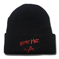 KIMUS Pretty Little Liars A Bite Me The Originals Logo Beanie Fashion Unisex Embroidery Beanies Skullies Knitted Hats Skull Caps