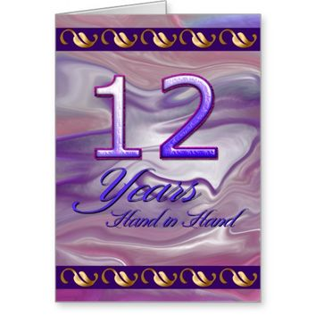 12 Years Hand in Hand (anniversary card) Greeting Card