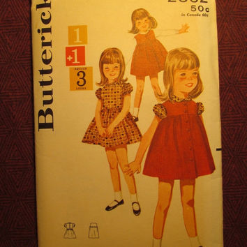 SALE Complete 1950's Butterick Sewing Pattern, 2862! Size 4 Toddler/Girls/Kids/Child/Short Puffy Sleeve Dress/Sleeveless Smock/High Waist/Bu