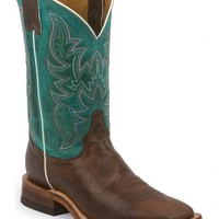 Justin Bent Rail Wood Brown Cowboy Boots - Square Toe - Sheplers