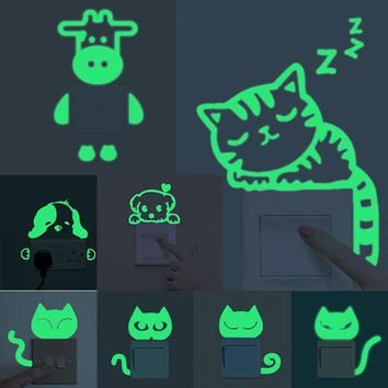 Luminous Home Decoration DIY Funny Animals Cute Cat Switch Sticker Glow In The Dark Living Room Fluorescent Sticker