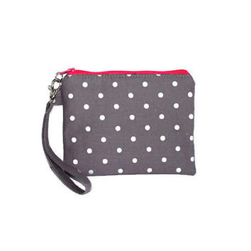 Gray and pink pouch, padded zipper pouch, wristlet, phone pouch, gadget case, makeup pouch, purse organizer,  gray and silver polka-dots.