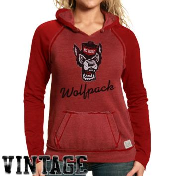 Original Retro North Carolina State Wolfpack Ladies Two-Toned V-Neck Hooded Sweatshirt - Red