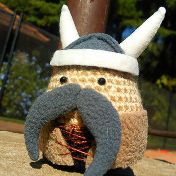 Amigurumi crochet Viking (large) with mustache plush toy.