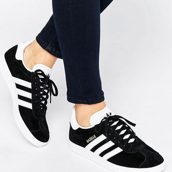 adidas Originals Unisex Black Suede Gazelle Trainers at asos.com