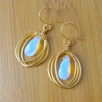Signature Design, Open Birdcage Earrings with Opalites