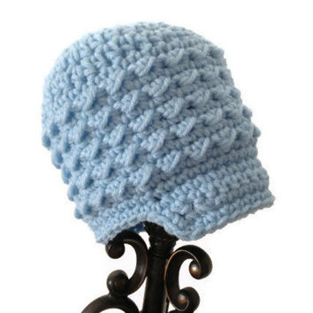 Crochet Newsboy Hat, Light Blue Newborn Girl Cap, Little Baby Beanie, Infant Soft-Brimmed Visor MADE TO ORDER Spring Easter Pastels