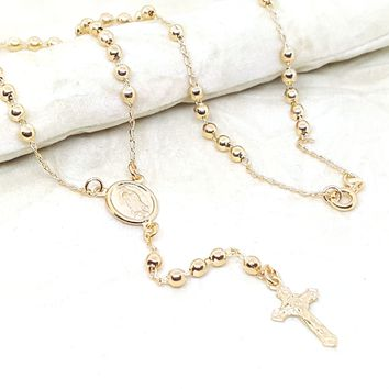 """1-3305-h1 Gold Plated Rosary Necklace. Guadalupe, 18"""", 3.5mm."""
