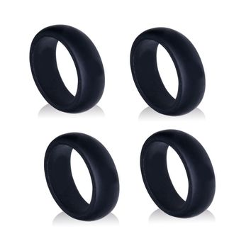 Silicone Wedding Ring Black Men Rubber Band Outdoor Sport Comfort Protect 4 Pcs