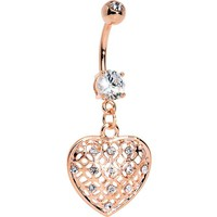 Clear Gem Rose Gold Plated Falling for Sparkle Heart Dangle Belly Ring