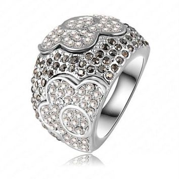 """Moonlit Garden"" Floral Motif Micro Pavé CZ Dome Cocktail Ring"