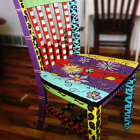 Handpainted Chair - Fun, bright, eclectic piece of furniture for any room in your home!