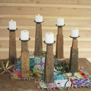 Set of 6 Repurposed Wooden Furniture Leg Candle Holders