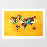 world map 123 wanderlust #wanderlust #map Art Print by jbjart