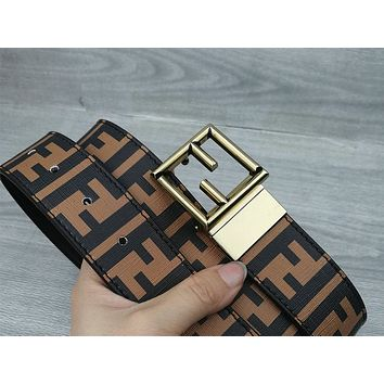 Fendi tide brand female double F embossed smooth buckle belt #2