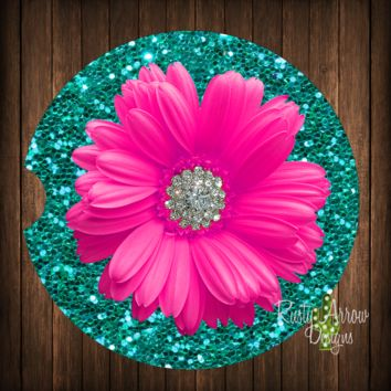 Turquoise Glitter with Pink Daisy Sandstone Car Coaster
