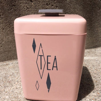 Pink Plastic Tea Cannister with Diamond Design