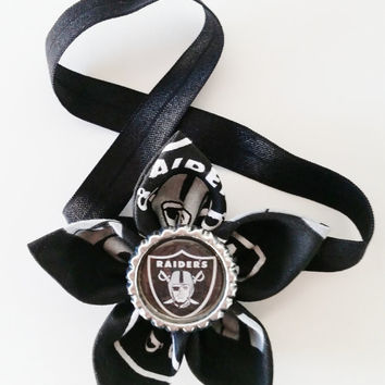 Oakland Raiders Headband, Raiders Headband, NFL Hair Accessory, Toddler and Newborn Football Headband, Raiders Hair Flower, Raiders Baby