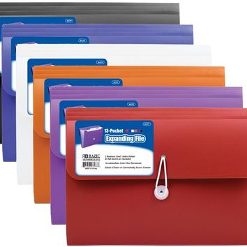Bazic 7-Pocket Letter Size Poly Expanding File Case Pack 12