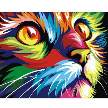 Paint By Numbers Multicolor Cat Animal Paintings by Numbers DIY On Canvas