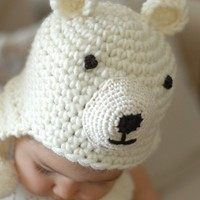 Polar Bear Hat Newborn and 03M by beliz82 on Etsy
