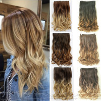 "Hot Sale 24"" 60cm Curly Wavy  One Piece Hair Extensions 3/4 Full Head Clip in Hair Extensions Ombre Hairpiece 6 Color B40"