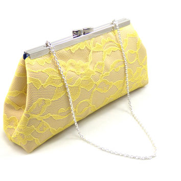 Champagne, Yellow Lace and Navy Blue Wedding Clutch